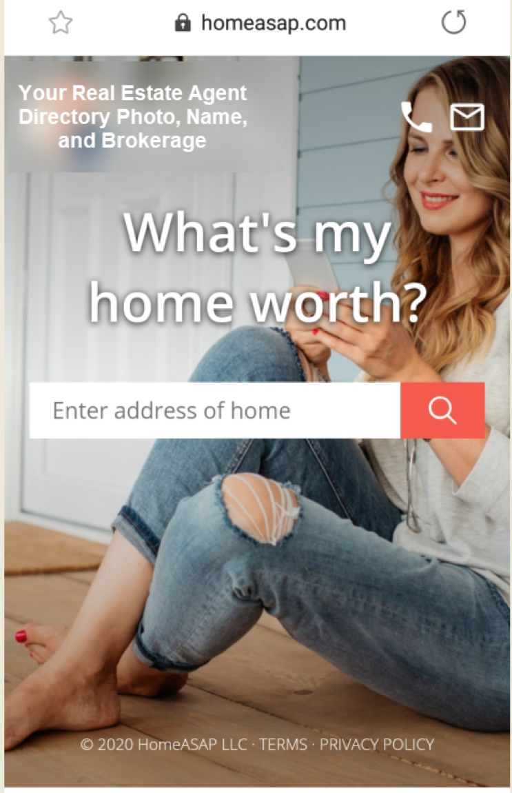 Home Value Leads Tool on Mobile Device